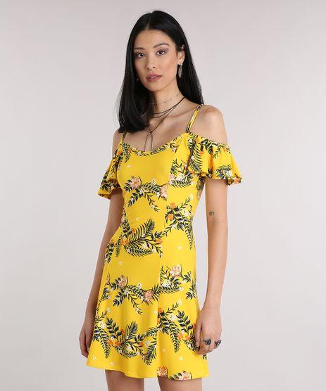 Vestido-Feminino-Open-Shoulder-Estampado-Floral-Curto-Amarelo-9189144-Amarelo_1