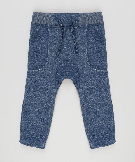Calca-Infantil-Jogger-em-Moletom-com-Bolso-Elastico-na-Barra-Azul-Marinho-8609249-Azul_Marinho_1