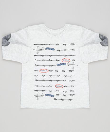 Camiseta-Infantil--Fly--com-Avioes-Manga-Longa-com-Reforco-Gola-Redonda-Cinza-Mescla-Claro-9133806-Cinza_Mescla_Claro_1