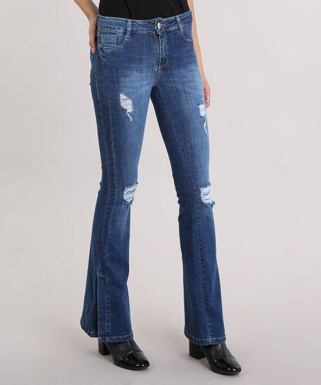 Calca-Jeans-Feminina-Flare-Sawary-Destroyed-com-Fenda-na-Barra-Azul-Escuro-9162724-Azul_Escuro_1