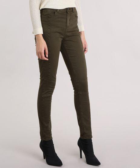 Calca-Feminina-Super-Skinny-com-Recortes-Cintura-Super-Alta-Verde-Militar-9102261-Verde_Militar_1