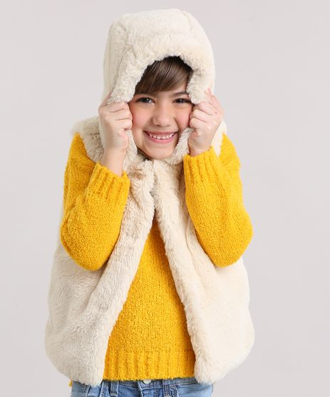 Colete-Infantil-de-Pelo-com-Capuz-Bege-Claro-8906014-Bege_Claro_1