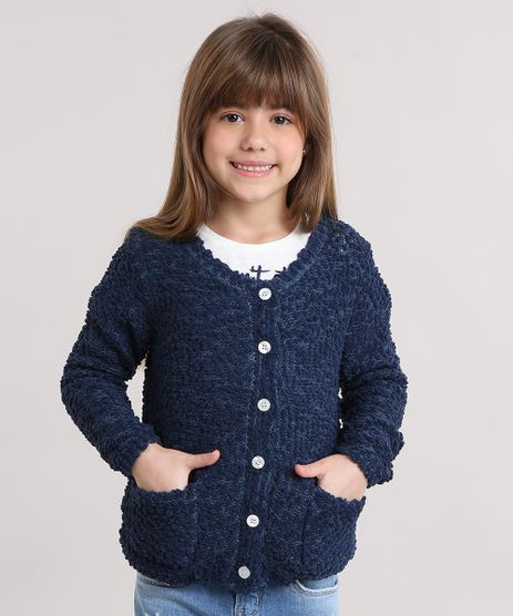 Cardigan-Infantil-em-Trico-Texturizado-Decote-Redondo-Azul-Marinho-8862485-Azul_Marinho_1