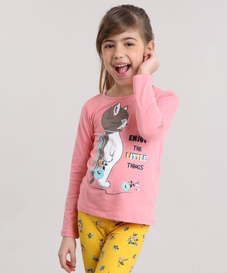 Blusa-Infantil-Gatinho-Manga-Longa-Decote-Redondo-em-Algodao---Sustentavel-Rosa-Medio-9137409-Rosa_Medio_1