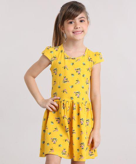Vestido-Infantil-Floral-com-Manga-Curta-e-Decote-Redondo-em-Algodao---Sustentavel-Amarelo-9137996-Amarelo_1