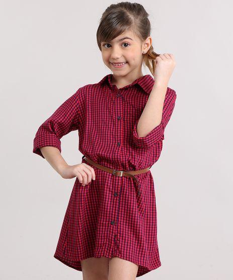 Vestido-Chemise-Infantil-Xadrez-com-Cinto-Vermelho-9170671-Vermelho_1