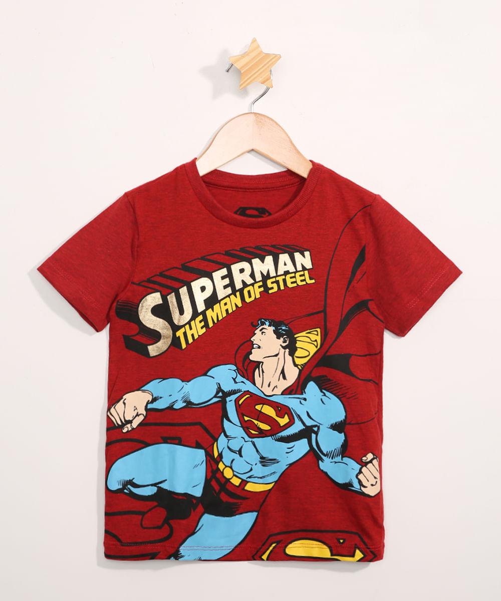 Camiseta Infantil Manga Curta Super Homem Vermelha