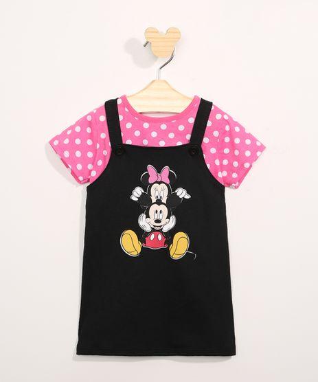 Conjunto-Infantil-Camiseta-Manga-Curta-Estampada-de-Poa---Salopete-Minnie-e-Mickey-Preto-9967580-Preto_1