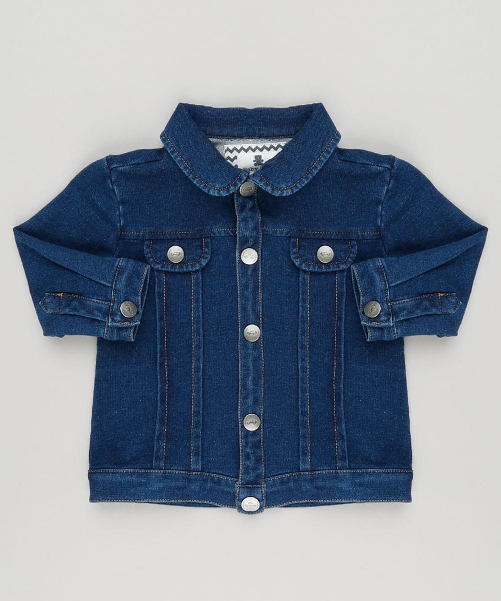 60c75dc4d5dc3 Jaqueta Jeans Infantil em Moletom Azul Escuro - cea