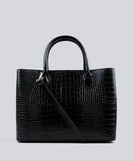 Bolsa-Feminina-Shopper-Texturizada-com-Alca-Transversal-Preta-8501145-Preto_1