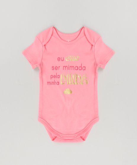 Body-Infantil--Eu-Amo-Ser-Mimada-Pela-Minha-Dinda--em-Manga-Curta-com-Decote-Redondo-em-Algodao---Sustentavel-Rosa-8920477-Rosa_1