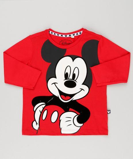 Camiseta-Infantil-Mickey-com-Estampa-Diferenciada-Manga-Longa-Decote-Redondo-em-Algodao---Sustentavel-Vermelha-9190186-Vermelho_1