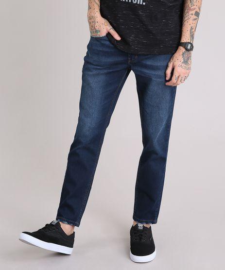 Calca-Jeans-Masculina-Skinny-Cropped-com-Puidos-na-Barra-Azul-Escuro-9185790-Azul_Escuro_1