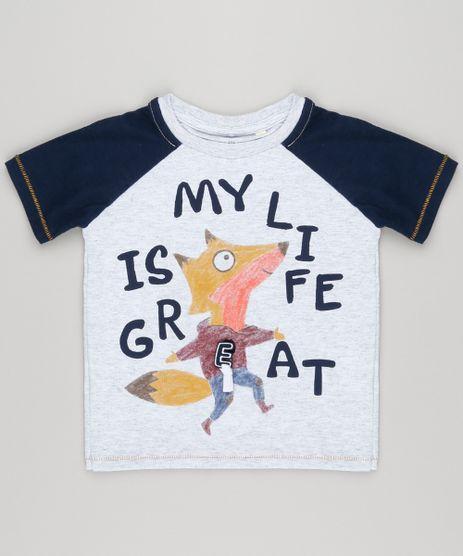Camiseta-Infantil-com-Estampa-Interativa-Raposa-Raglan-Manga-Curta-Gola-Careca-Cinza-Mescla-Claro-9140705-Cinza_Mescla_Claro_1