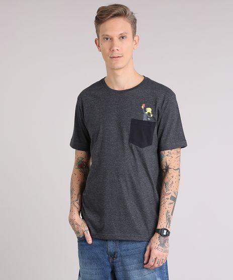 Camiseta-Masculina-Simpsons-com-Bolso-Manga-Curta-Gola-Careca-Cinza-Mescla-Escuro-9150263-Cinza_Mescla_Escuro_1