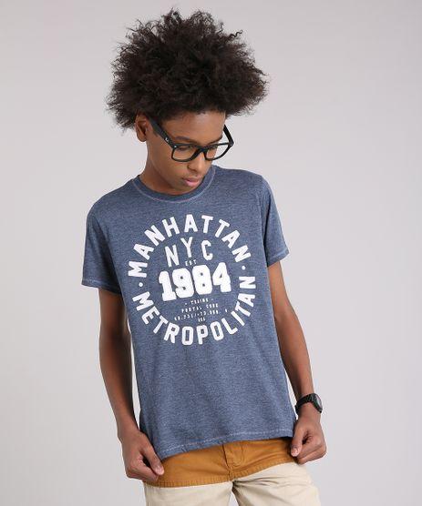 Camiseta-Infantil--Manhattan-Metropolitan--Manga-Curta-Gola-Careca-Azul-9141671-Azul_1