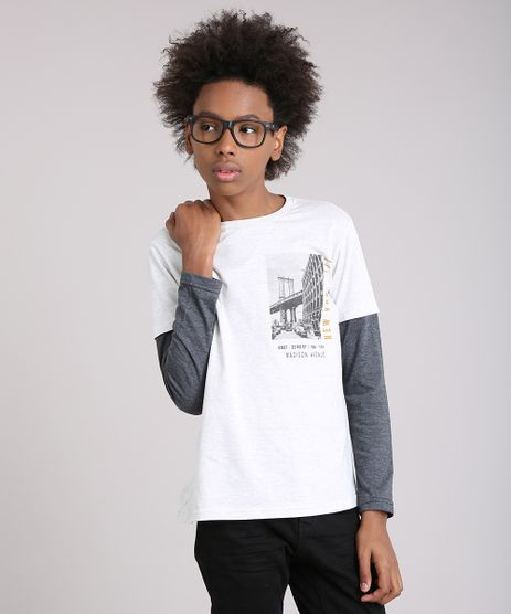 Camiseta-Infantil-com-Estampa--New-York-City--Manga-Longa-Gola-Careca-Cinza-Claro-9128985-Cinza_Claro_1