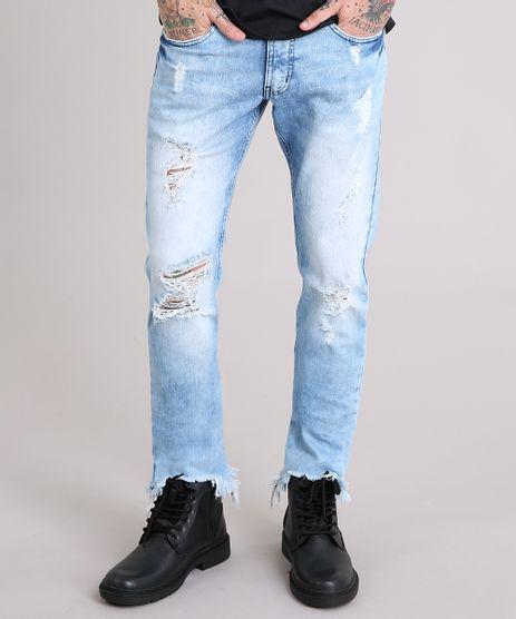Calca-Jeans-Slim-Destroyed-com-Barra-Assimetrica-Desfiada-Azul-Claro-9110309-Azul_Claro_1