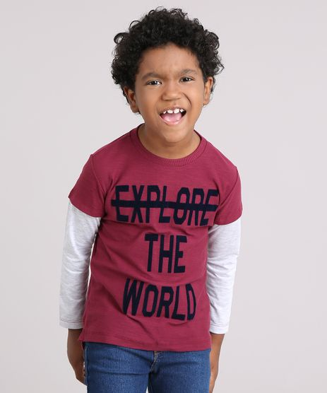 Camiseta-Infantil--Explore-the-World--Manga-Longa-Decote-Careca-Vinho-9135530-Vinho_1