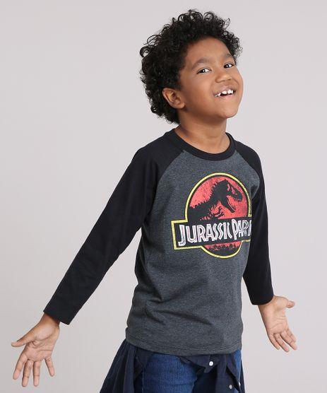 Camiseta-Infantil-Jurassic-Park-Manga-Longa-Raglan-Decote-Careca-Cinza-Mescla-Escuro-9144765-Cinza_Mescla_Escuro_1