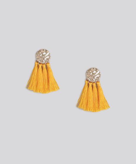 Brinco-Feminino-Texturizado-com-Tassel-Dourado-9158342-Dourado_1