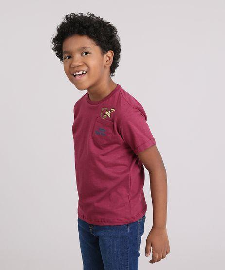 Camiseta-Infantil-Coyote-com-Bolso-Manga-Curta-Decote-Careca-Vinho-9147839-Vinho_1