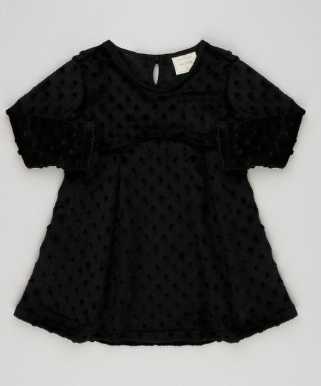 Vestido-Infantil-Plush-com-Bolinhas-e-Bolso-Manga-Longa-Decote-Redondo-Preto-9140864-Preto_1