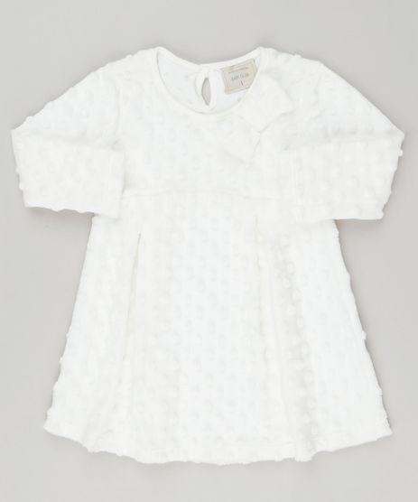 Vestido-Infantil-Plush-com-Bolinhas-e-Laco-Manga-Longa-Decote-Redondo-Off-White-9188865-Off_White_1