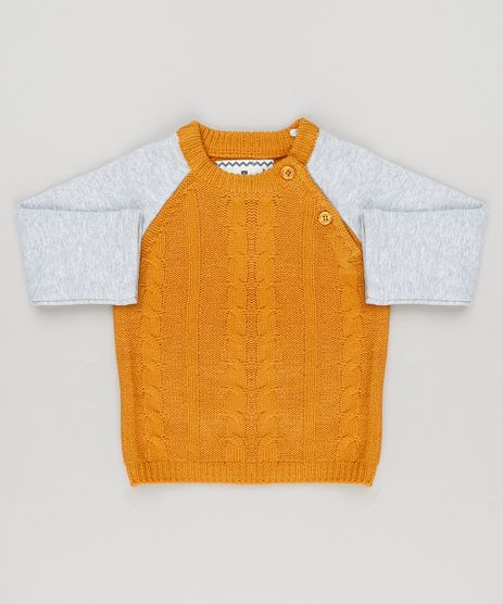 Sueter-Infantil-em-Trico-com-Moletom-em-Algodao---Sustentavel-Amarelo-8947767-Amarelo_1