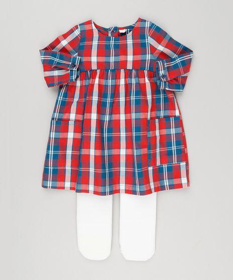 Vestido-Infantil-Xadrez-Manga-Longa---Meia-Calca-em-Algodao---Sustentavel-Vermelho-8949666-Vermelho_1