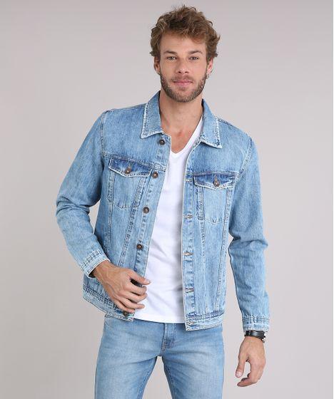 Jaqueta Jeans Masculina Trucker com Bolsos Azul Claro - cea 12a0cbdd99