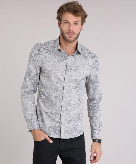 Camisa-Masculina-Slim-Estampada-Floral-Manga-Longa-Cinza-9084686-Cinza_1