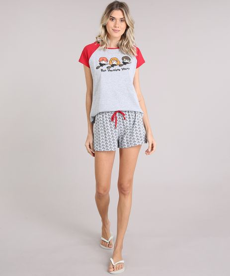 Pijama-Feminino-Harry-Potter-Manga-Curta-Cinza-Mescla-9122164-Cinza_Mescla_1