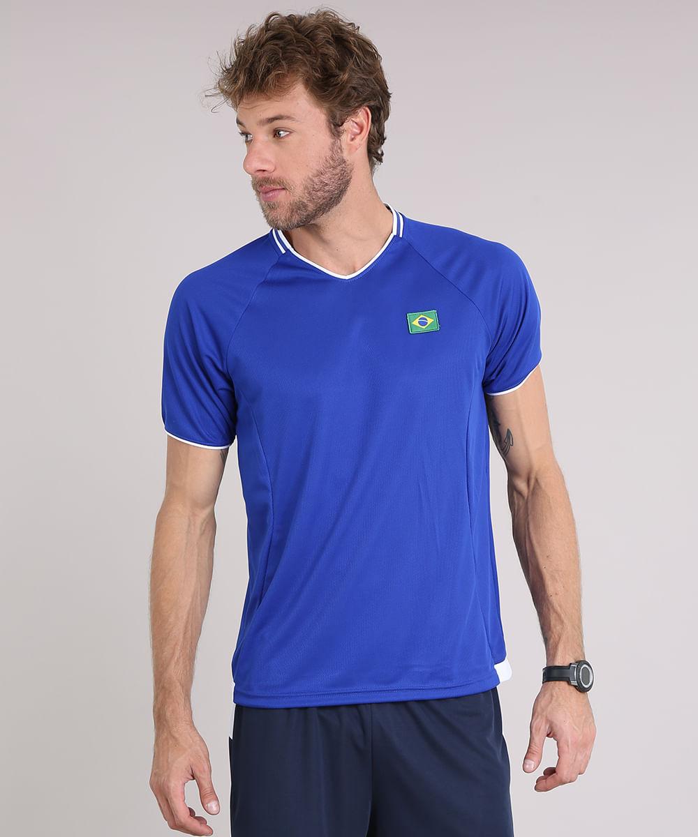 52e835cd2 Camiseta Masculina Esportiva Brasil Ace Manga Curta Azul Royal - cea