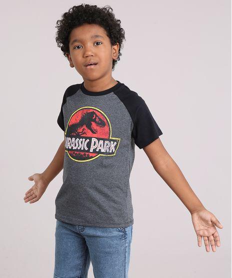 Camiseta-Infantil-Jurassic-Park-Manga-Curta-Raglan-Decote-Careca-Cinza-Mescla-Escuro-9142096-Cinza_Mescla_Escuro_1