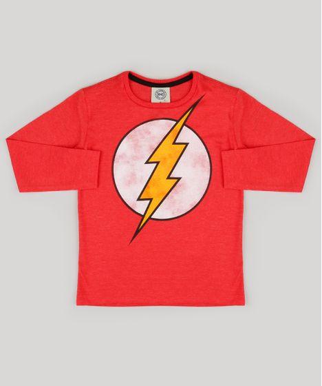 Camiseta Infantil The Flash Manga Longa Gola Careca Vermelha - cea 7b7ad054a23d9
