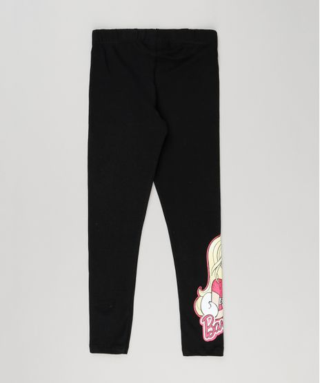 Calca-Legging-Infantil-Barbie-em-Algodao---Sustentavel-Preta-9148184-Preto_1