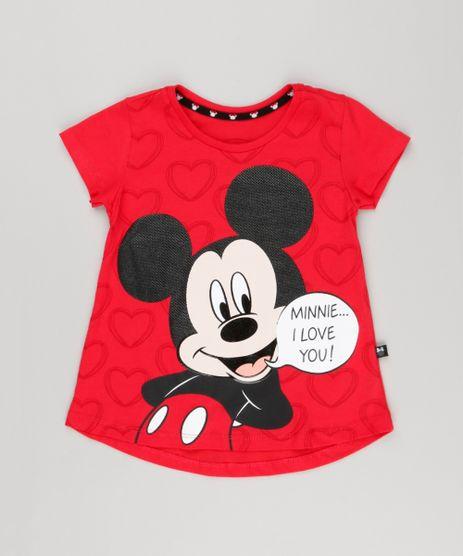 Blusa-Infantil-Mickey-Manga-Curta-Decote-Redondo-em-Algodao---Sustentavel-Vermelho-9140991-Vermelho_1
