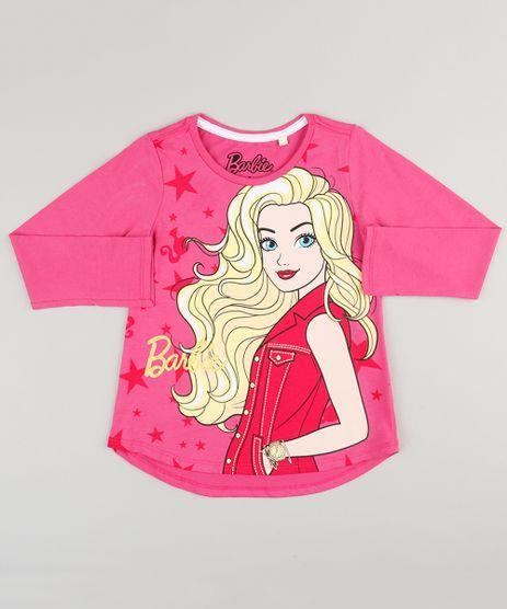 Blusa-Infantil-Barbie-Manga-Longa-Decote-Redondo-em-Algodao---Sustentavel-Rosa-9137850-Rosa_1