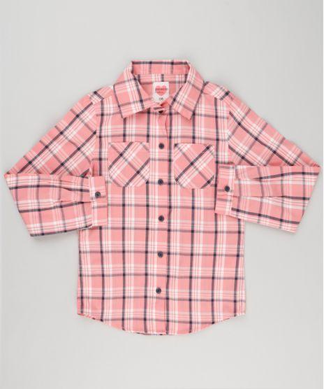 Camisa-Infantil-Xadrez-com-Bolsos-Manga-Longa-Rosa-8912641-Rosa_1
