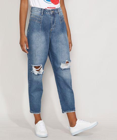 Calca-Jeans-Feminina-Cintura-Alta-Sawary-Baggy-Destroyed-com-Recortes-Azul-Medio-9983850-Azul_Medio_1