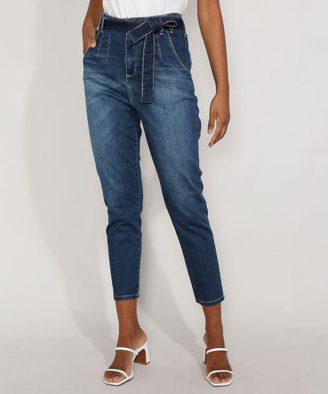 Calca-Jeans-Feminina-Cintura-Alta-Sawary-Mom-com-Pences-e-Faixa-para-Amarrar-Azul-Escuro-9983848-Azul_Escuro_1