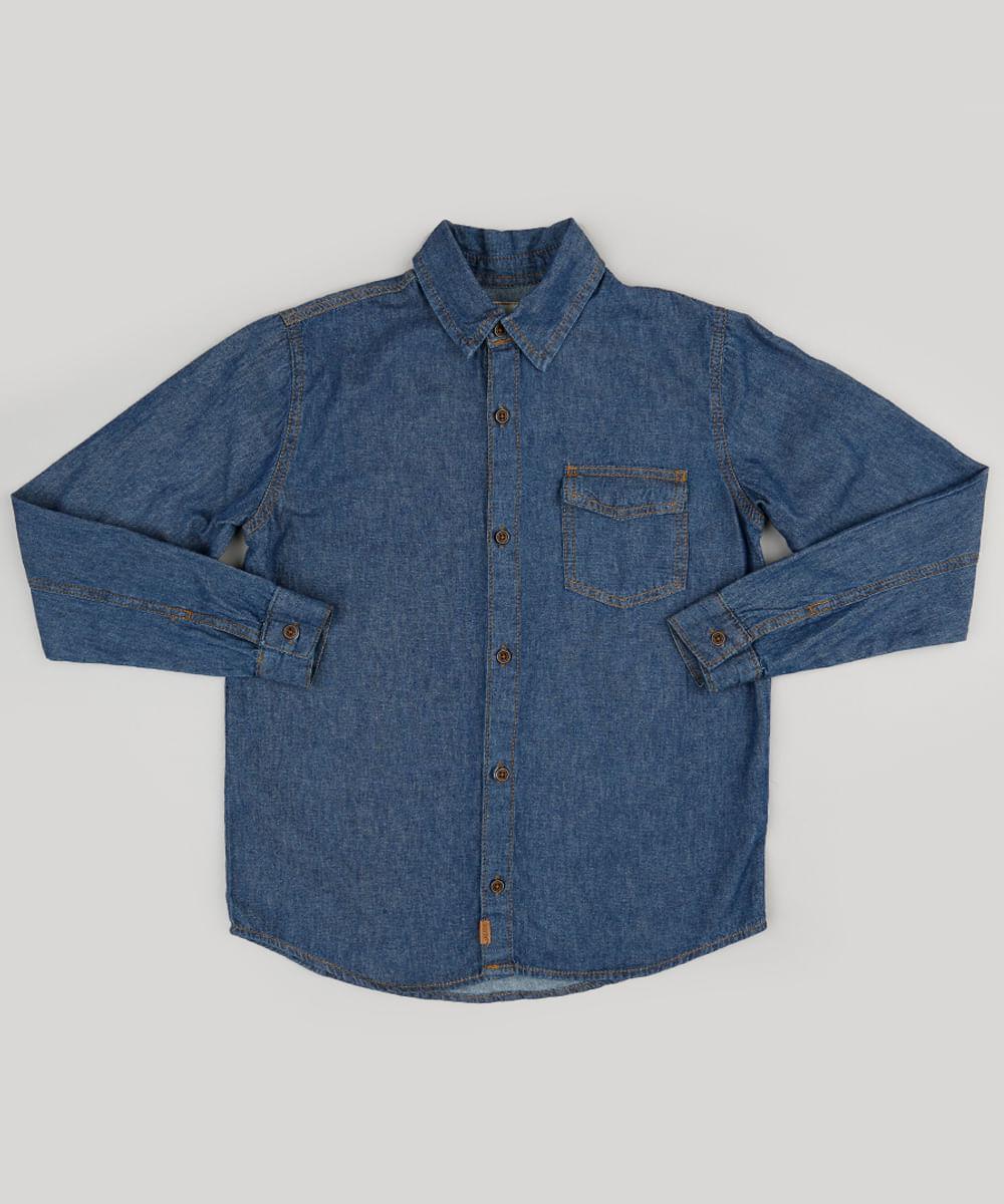 574a4a63a9221 Camisa Infantil Jeans Manga Longa com Bolso Azul Escuro - cea