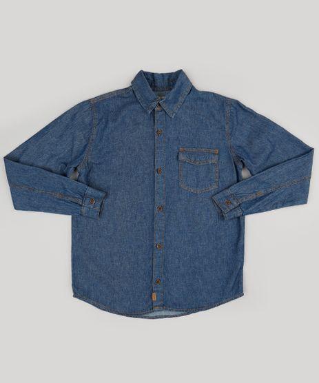Camisa-Infantil-Jeans-Manga-Longa-com-Bolso-Azul-Escuro-9178518-Azul_Escuro_1