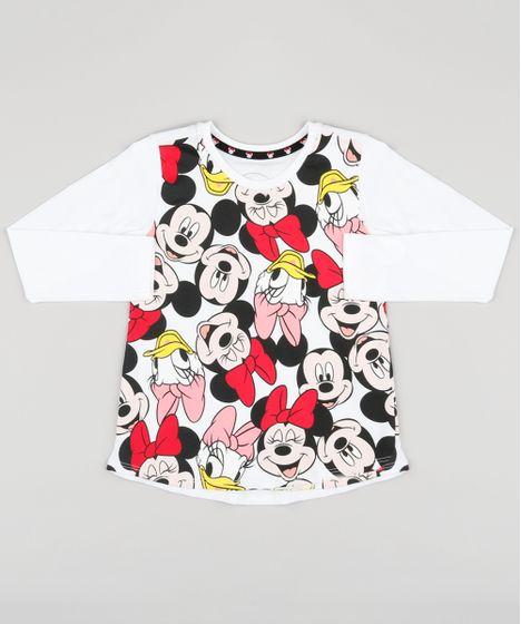 0e21cb794342e Blusa Infantil Turma do Mickey Manga Longa Decote Redondo Off White