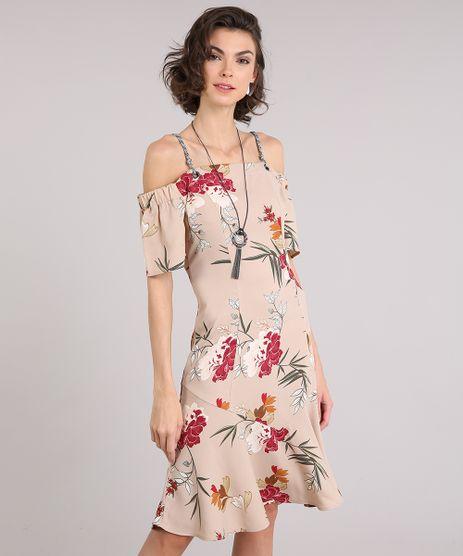 Vestido-Feminino-Midi-Open-Shoulder-Floral-Manga-Curta--Bege-9017691-Bege_1