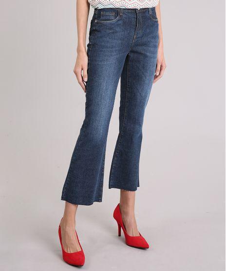Calca-Jeans-Feminina-Cropped-Flare-Barra-Desfiada-Cintura-Alta-Azul-Escuro-9116263-Azul_Escuro_1
