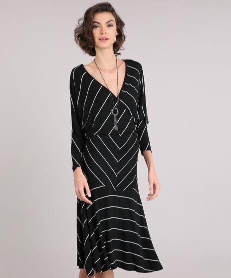 Vestido-Feminino-Midi-Listrado-com-Decote-V-Transpassado-Manga-Longa-Preto-9162672-Preto_1