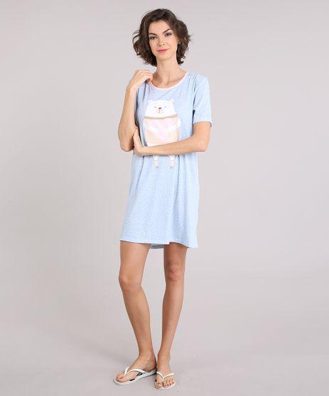 Camisola-Feminina-Estampada-Poas-e-Ursinho-Manga-Curta-Decote-Redondo-Azul-Claro-9120635-Azul_Claro_1