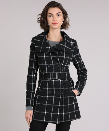 Casaco-Feminino-Trench-Coat-Xadrez-com-Botoes-e-Cinto-Preto-8889829-Preto_1